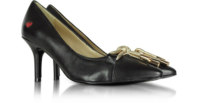 Black Leather Pumps with Gold Bow - Moschino