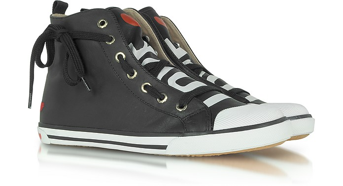 Love Moschino - Black Leather Logo Sneaker - Moschino
