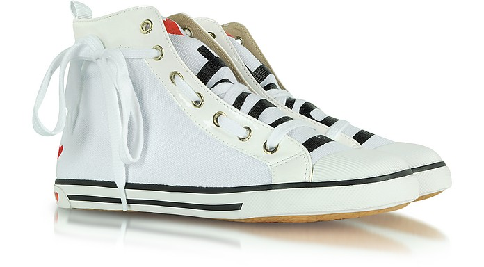 Love Moschino - High Top Fabric and Patent Leather Sneaker - Moschino
