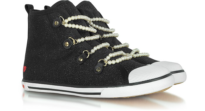 Love Moschino - Black Canvas Sneaker with Pearl Detail - Moschino