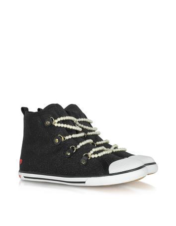 Love Moschino - Black Glitter Canvas High Top Sneaker