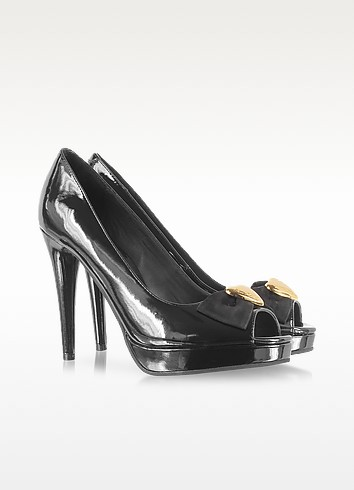Black Patent Leather Platform Pump - Moschino