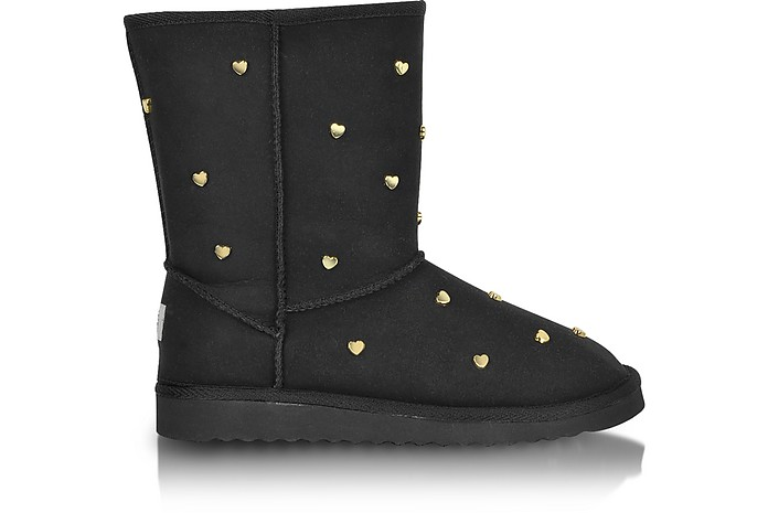 Love Moschino - Heart-Studded Black Suede Boots - Moschino