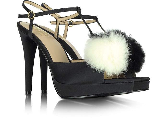 Love Moschino - Black Satin Sandal with Fur - Moschino