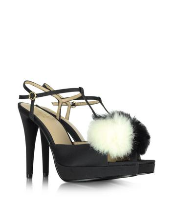 Love Moschino - Black Satin Sandal with Fur Sandal