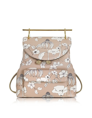 Printed Flowers Sand Leather Backpack