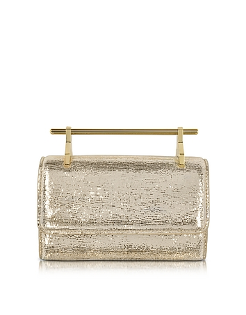 M2Malletier - Mini Fabricca Gold Metallic Textured Clutch w/Chain