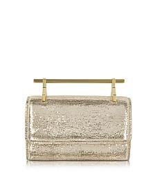 Mini Fabricca Gold Metallic Textured Clutch w/Chain - M2Malletier