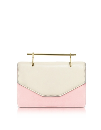 M2Malletier - Indre Ivory Leather & Blush Suede Crossbody Bag
