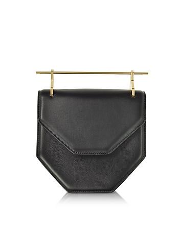 Forzieri DE M2Malletier Amor Fati Black Leather Shouder Bag w/Double Metal Handles