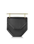 M2Malletier Amor Fati Black Leather Shouder Bag w/Double Metal Handles mt130217-010-00