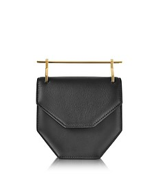 Amor Fati Black Leather Shouder Bag w/Double Metal Handles - M2Malletier