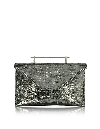 M2Malletier - Annabelle Black Metallic Textured Fabric Clutch w/Chain