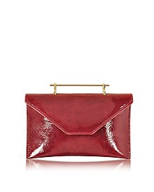 Annabelle Lipstick Red Patent Leather Clutch w/Chain - M2Malletier