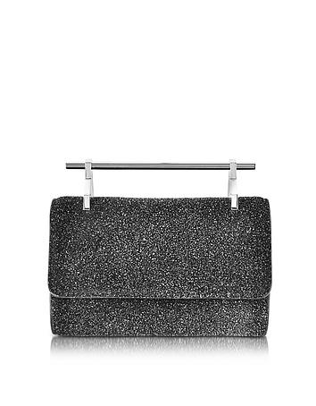 M2Malletier - Mini Fabricca Cosmic Black Glitter Leather Clutch w/Chain
