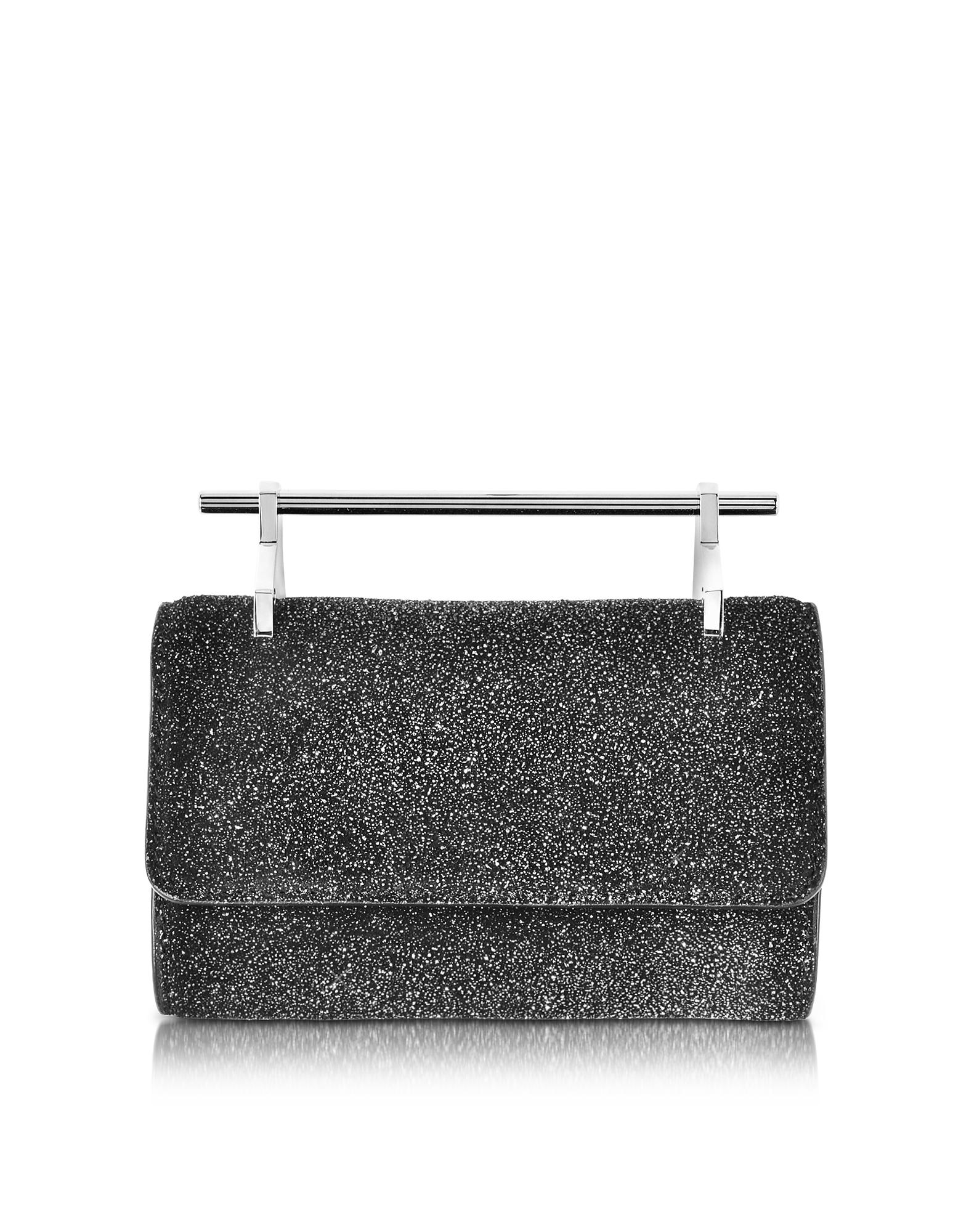 M2Malletier Mini Fabricca Cosmic - Черный Блестящий Кожаный Клатч с Цепочкой
