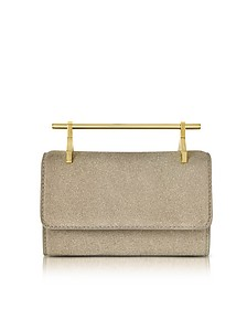 Mini Fabricca Cosmic Grey Glitter Leather Clutch w/Chain - M2Malletier