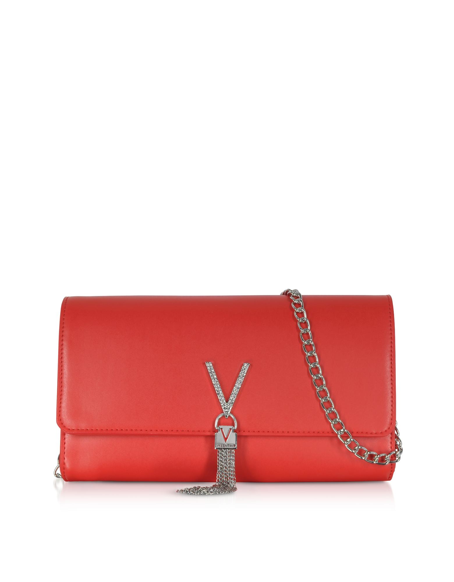 Valentino by Mario Valentino Designer Handbags, Ranma V Clutch w/Chain Strap