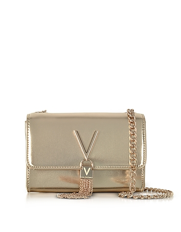 VALENTINO by Mario Valentino Diva Mini Gold Eco-Leather Shoulder Bag