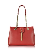 VALENTINO by Mario Valentino Diva Large Red Eco Leather Shoulder Bag mv130217-006-00