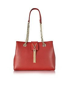 Diva Large Red Eco Leather Shoulder Bag - Valentino by Mario Valentino