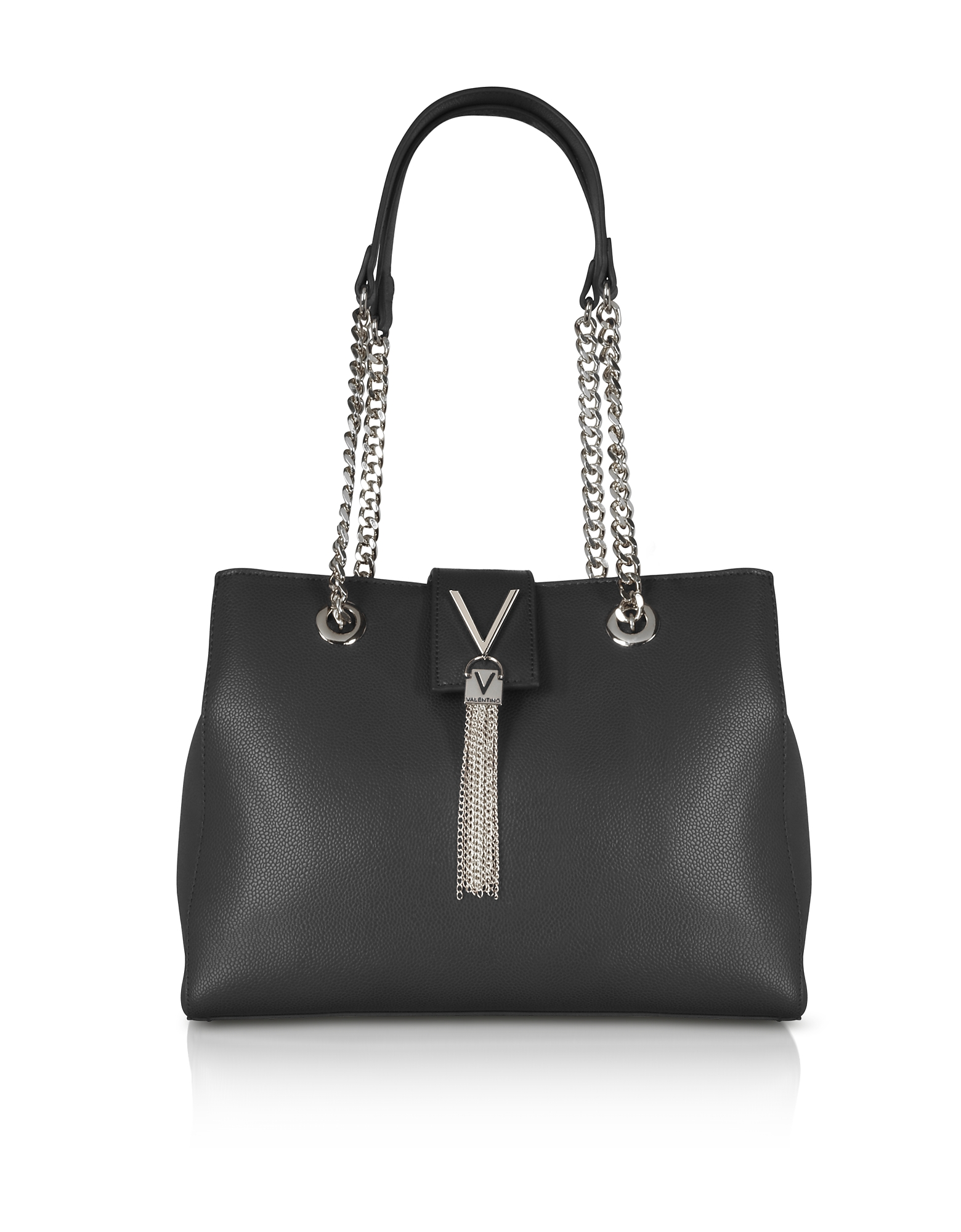 Image of Valentino by Mario Valentino Designer Handbags, Lizard Embossed Eco Leather Divina Shoulder Bag w/Chain Straps