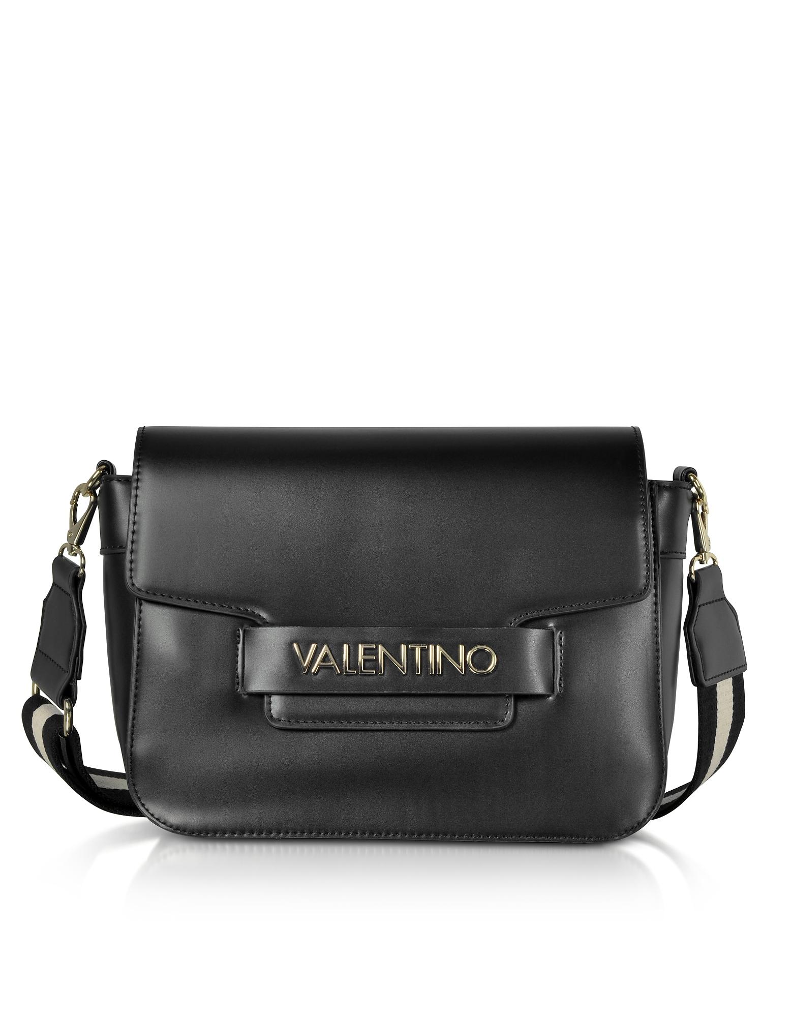 Image of Valentino by Mario Valentino Designer Handbags, Eco Leather Blast Shoulder Bag w/Canvas Strap
