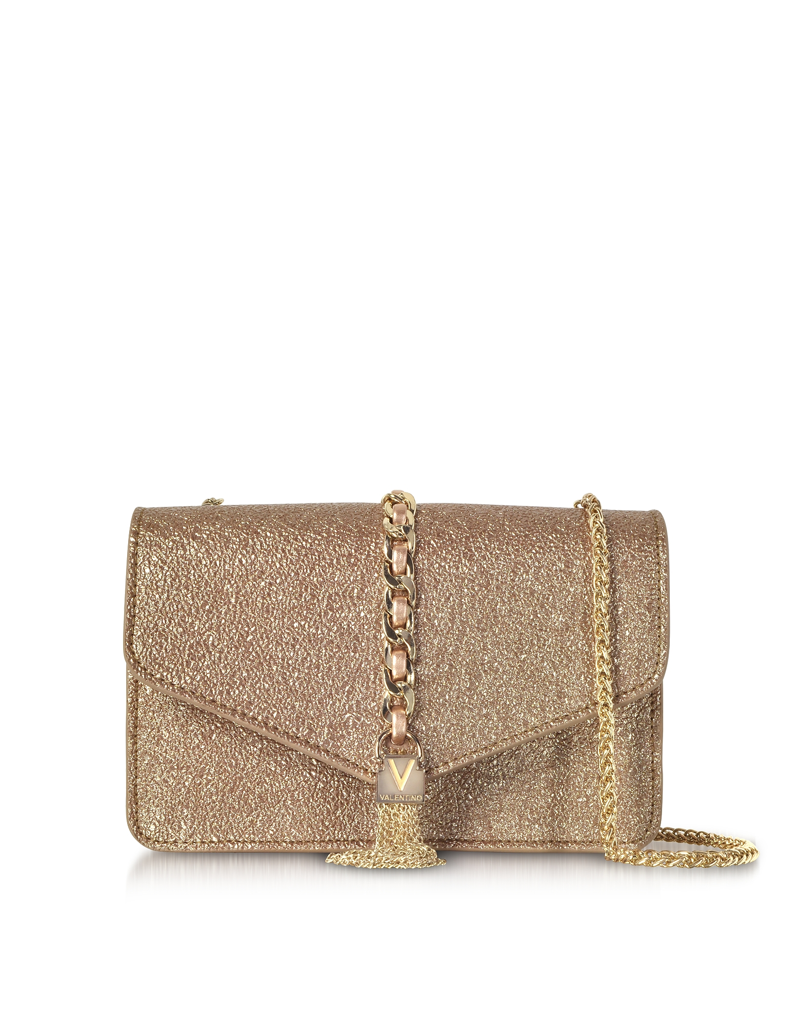 Image of Valentino by Mario Valentino Designer Handbags, Eco Crackled Metallic Leather Burlesque Small Shoulder Bag