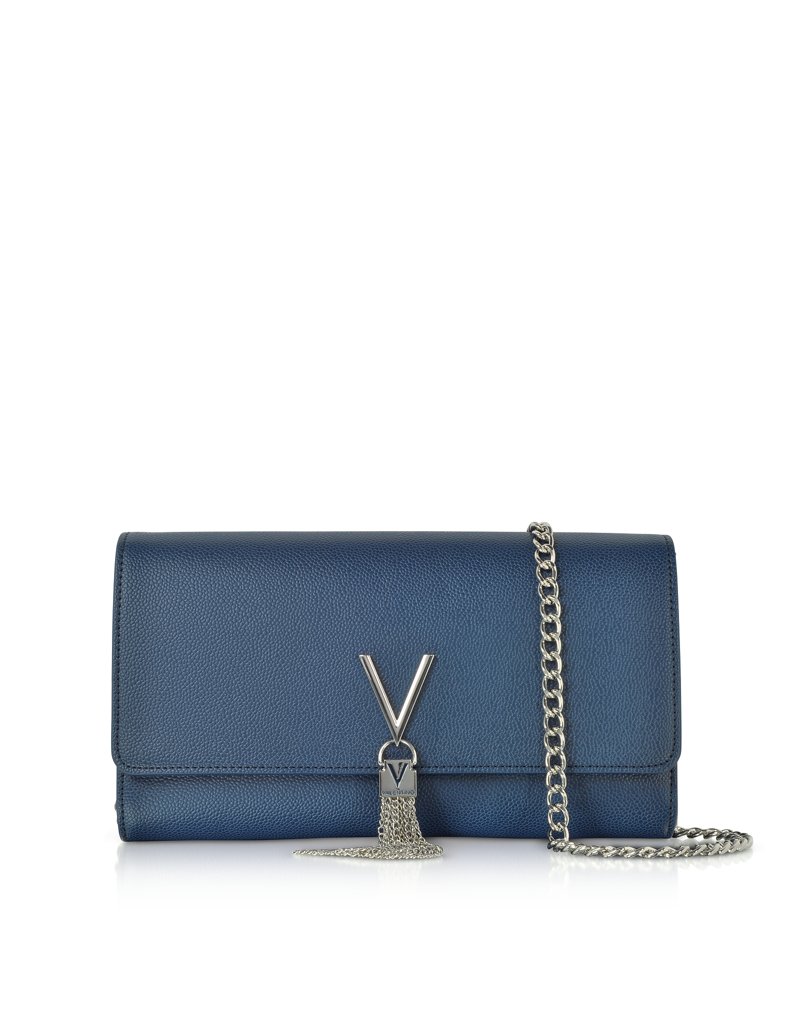 VALENTINO BY MARIO VALENTINO Blue Lizard Embossed Eco Leather Divina Shoulder Bag