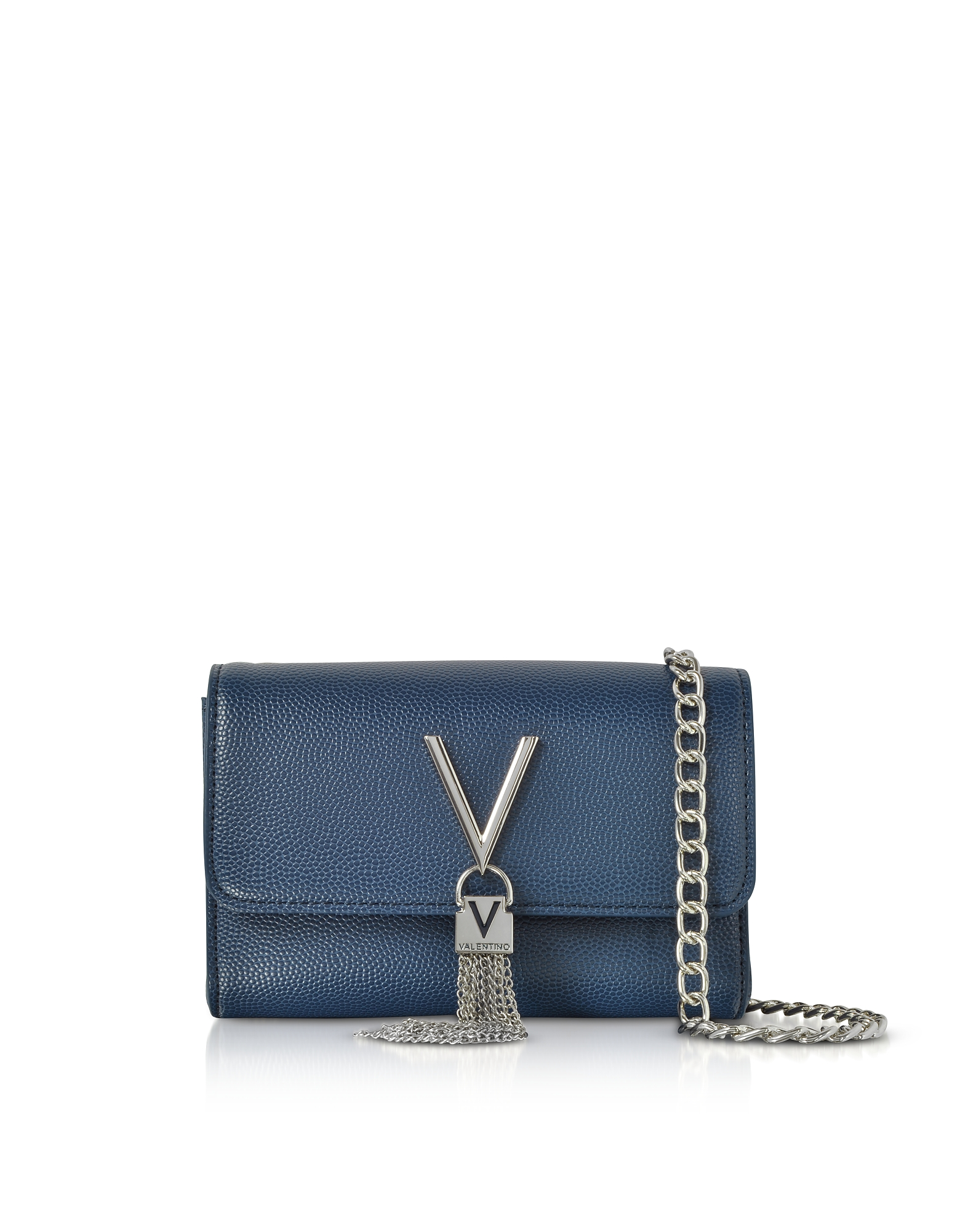 VALENTINO BY MARIO VALENTINO Blue Lizard Embossed Eco Leather Divina Mini Shoulder Bag