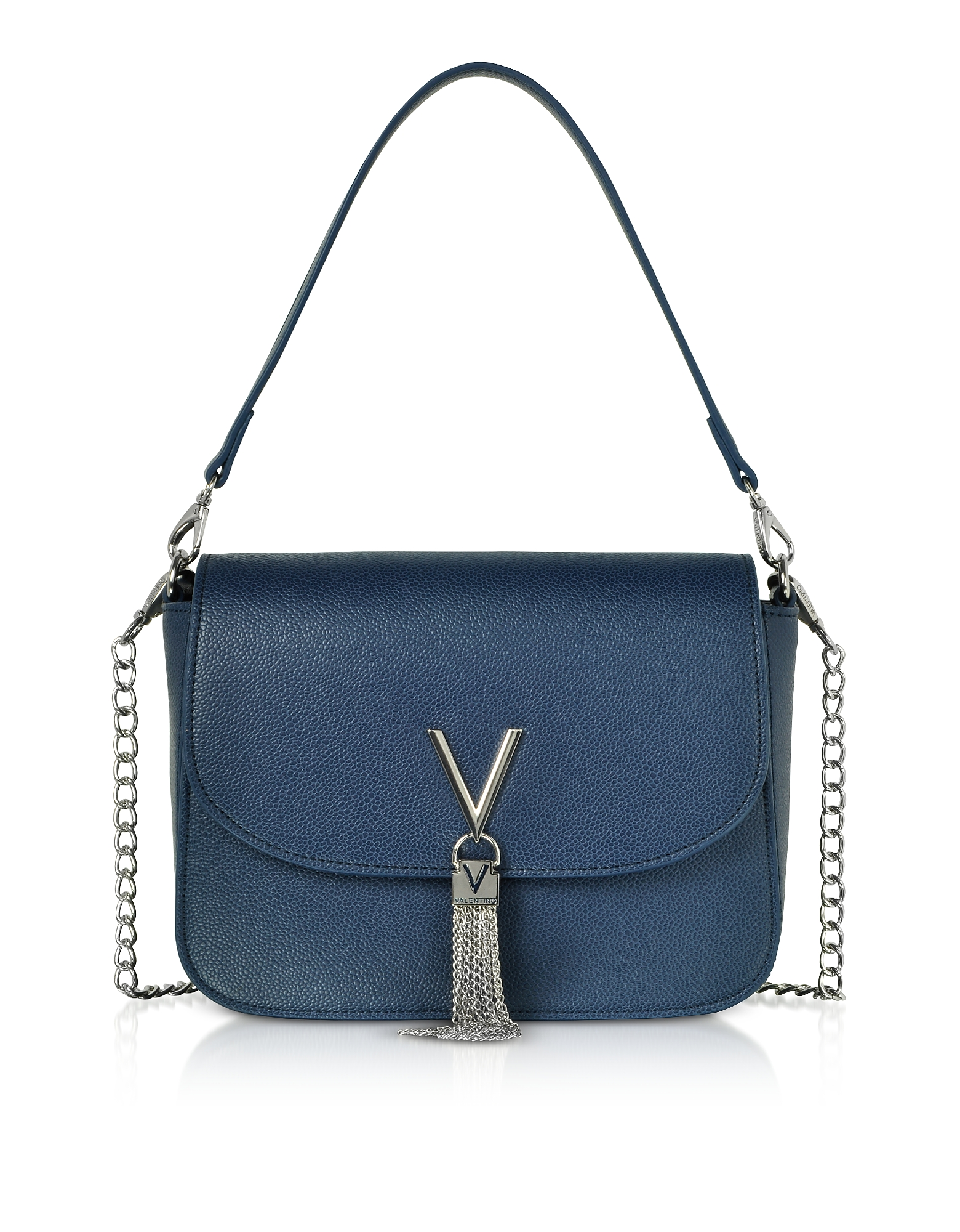VALENTINO BY MARIO VALENTINO Blue Eco Grained Leather Divina Top Handle Bag