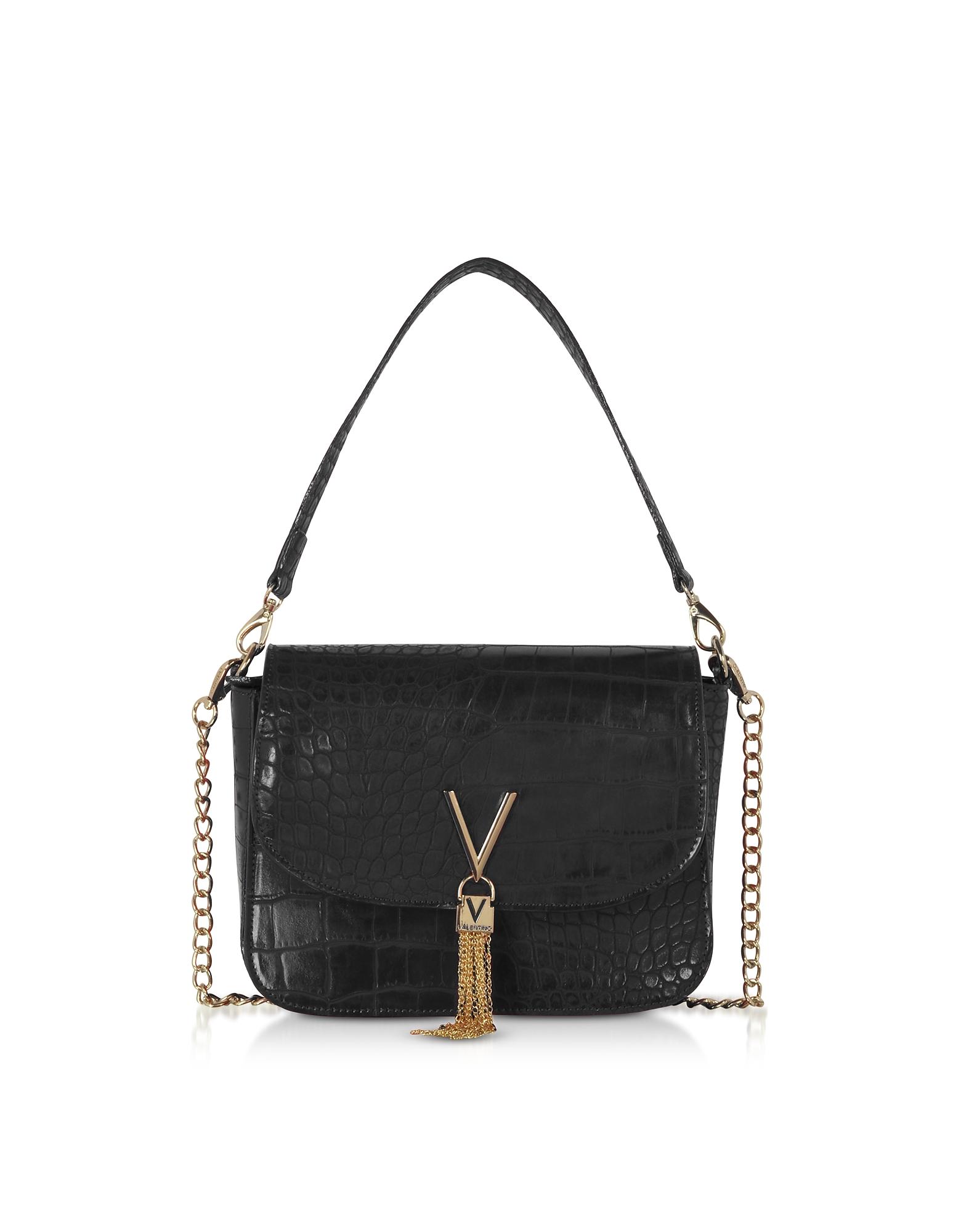 Audrey Croco Embossed Eco Leather Shoulder Bag, Black