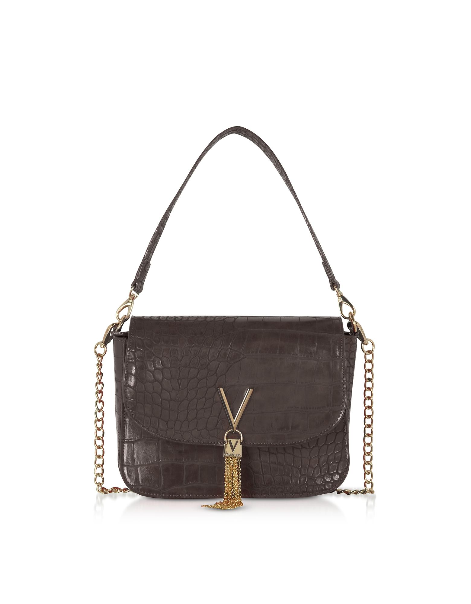 Audrey Croco Embossed Eco Leather Shoulder Bag