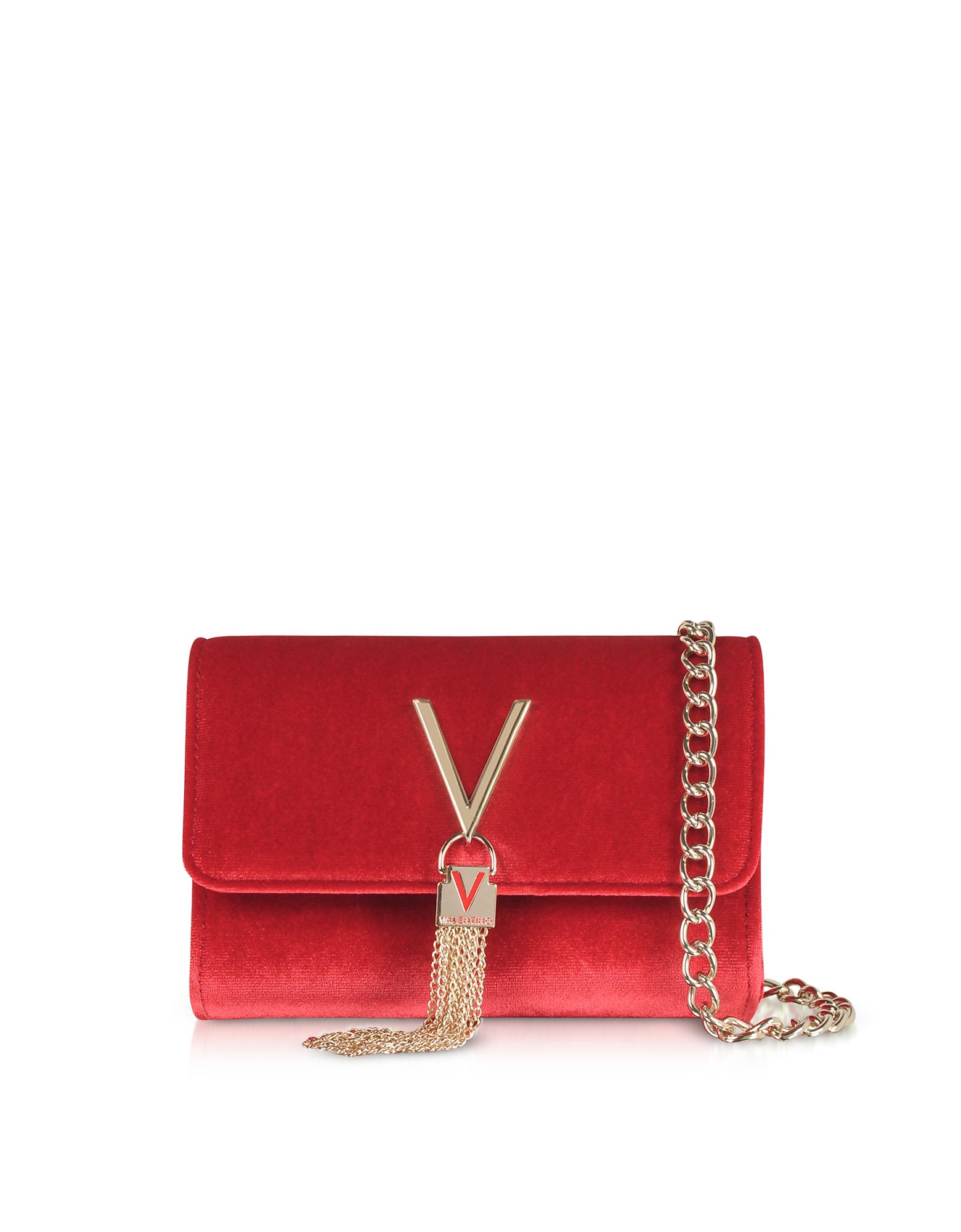 Valentino by Mario Valentino Designer Handbags, Marilyn Velvet Small Shoulder Bag