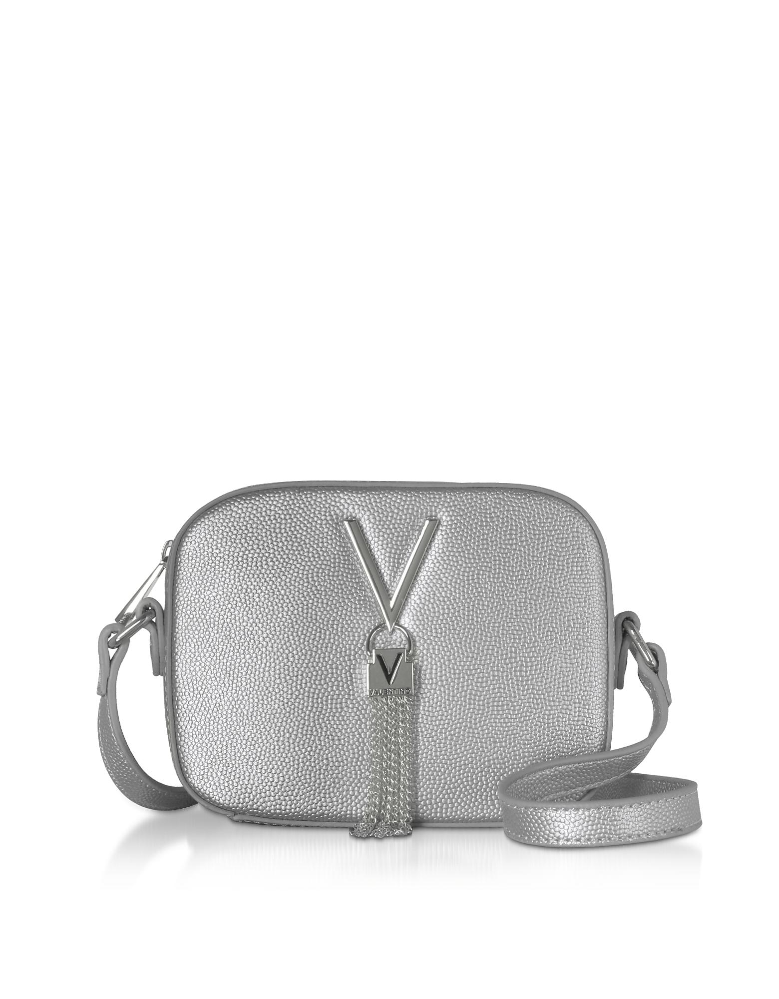 Valentino by Mario Valentino Designer Handbags, Gold Lizard Embossed Eco Leather Divina Mini Crossbody Bag