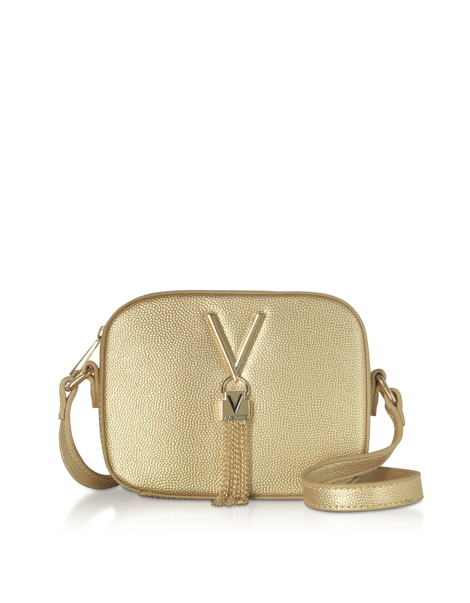 Gold Lizard Embossed Eco Leather Divina Mini Crossbody Bag