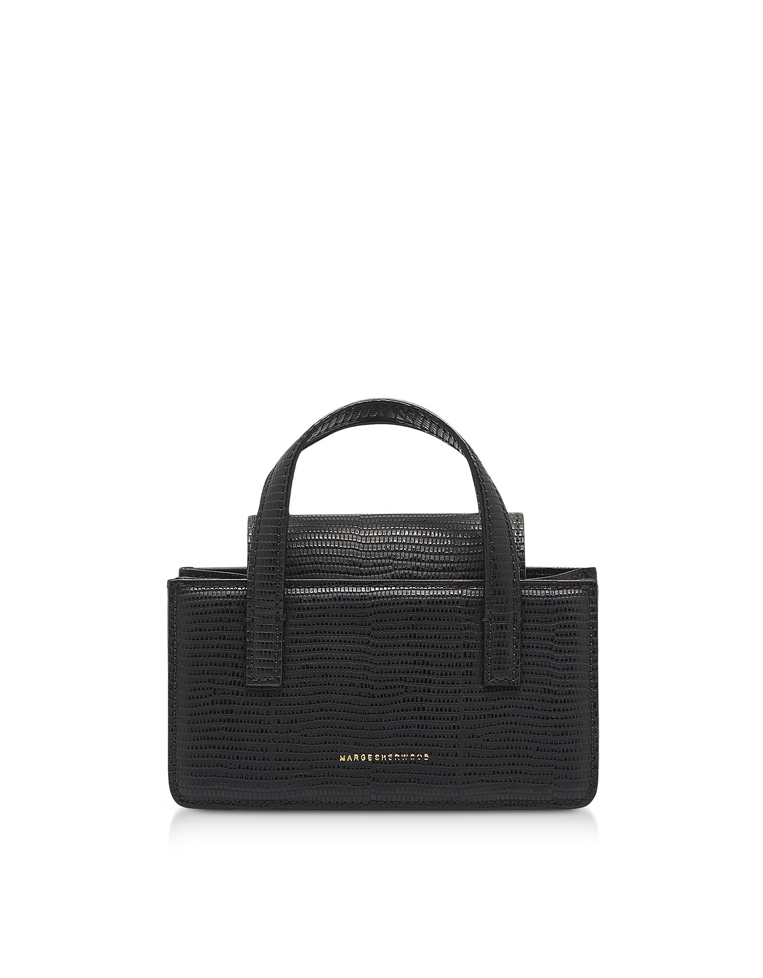 Marge Sherwood Designer Handbags, Lizard Embossed Leather Grandma Mini Tote