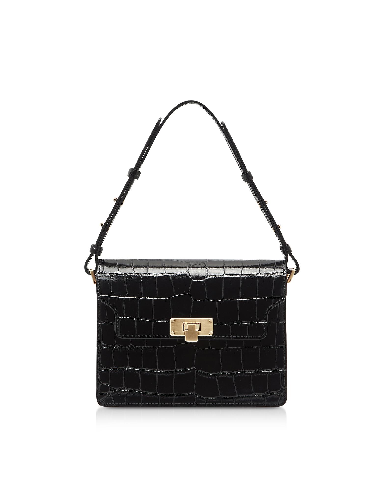 Marge Sherwood Designer Handbags, Black Croco Embossed Leather Vintage Brick Shoulder Bag