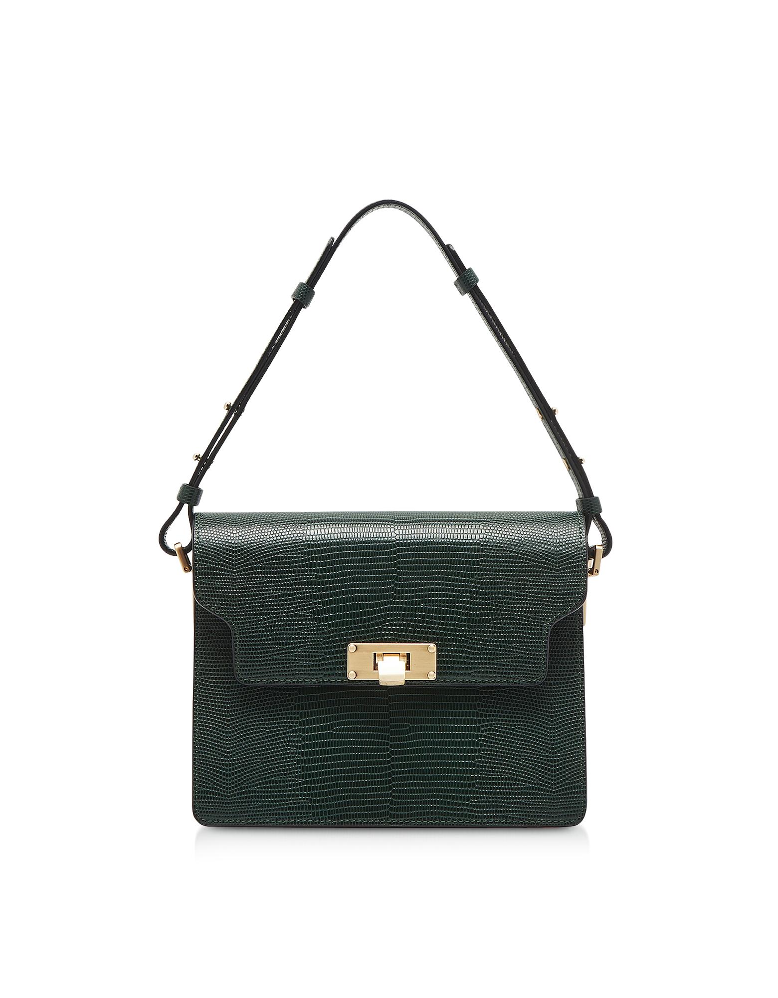Marge Sherwood Designer Handbags, Lizard Embossed Leather Vintage Brick Shoulder Bag