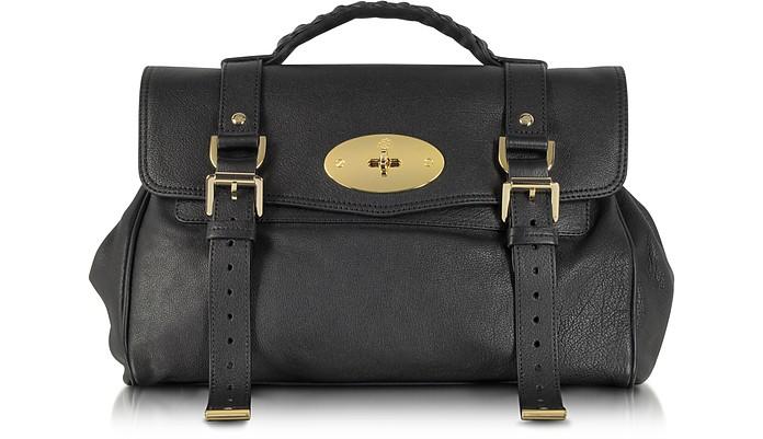 Alexa Black Polished Buffalo Leather With Soft Gold Satchel Bag - Mulberry