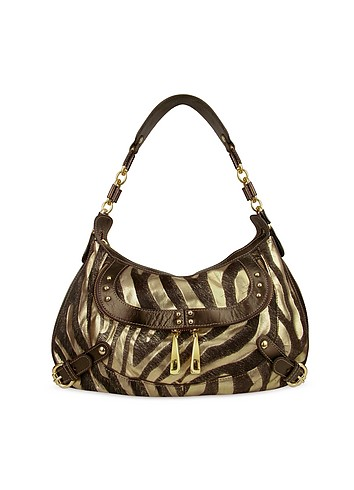 Mania Zebra Patterned Metallic Gold Leather Hobo Bag :  luxury womens bags gold