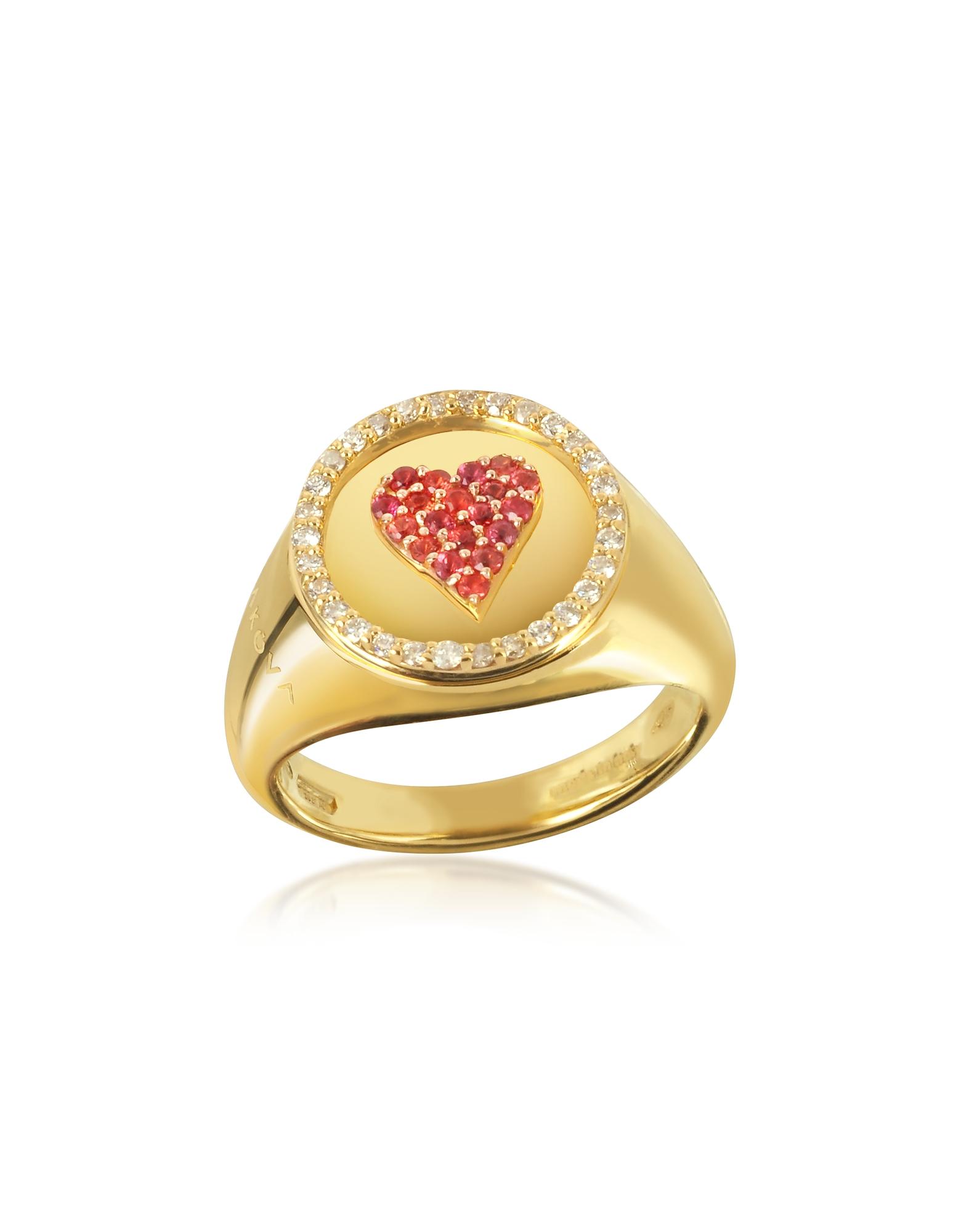 Queen of Heart Pinky - Кольцо из Желтого Золота 18 карат с Сапфирами 0.10 карата и Бриллиантами 0.15 карата
