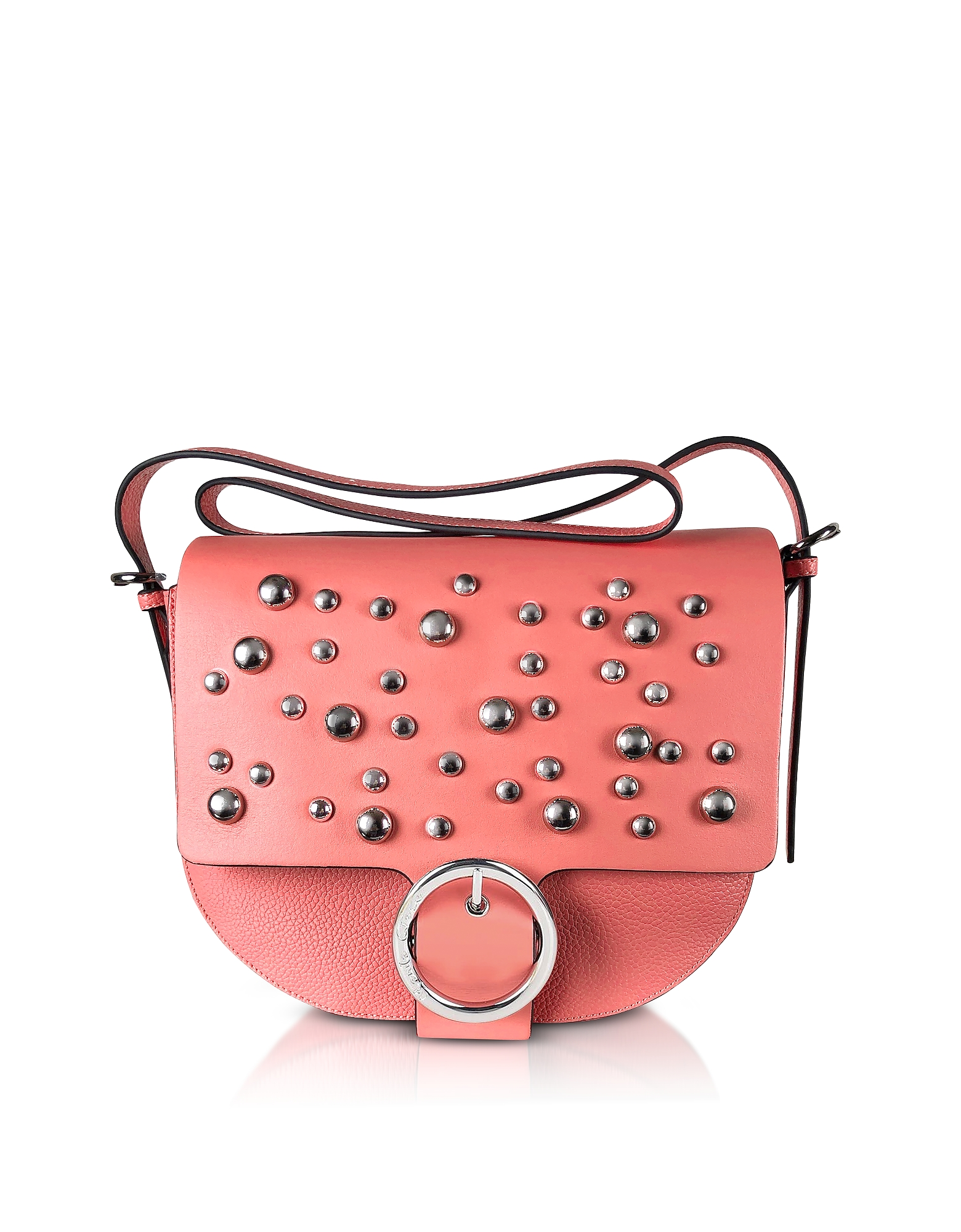 Manila Grace Designer Handbags, Coral Pink Studded Shoulder Bag