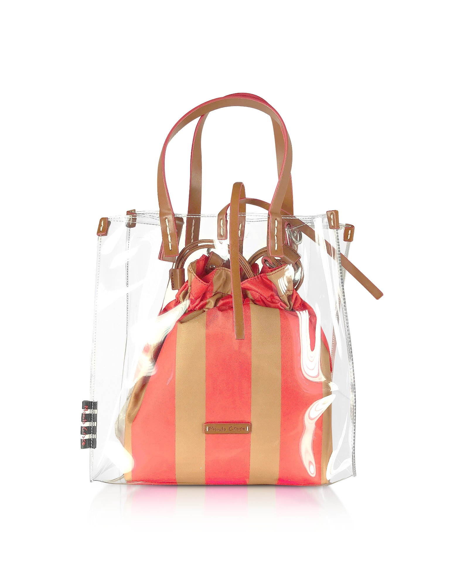 Manila Grace Designer Handbags, Transparent Tote Bag w/Striped Pouch