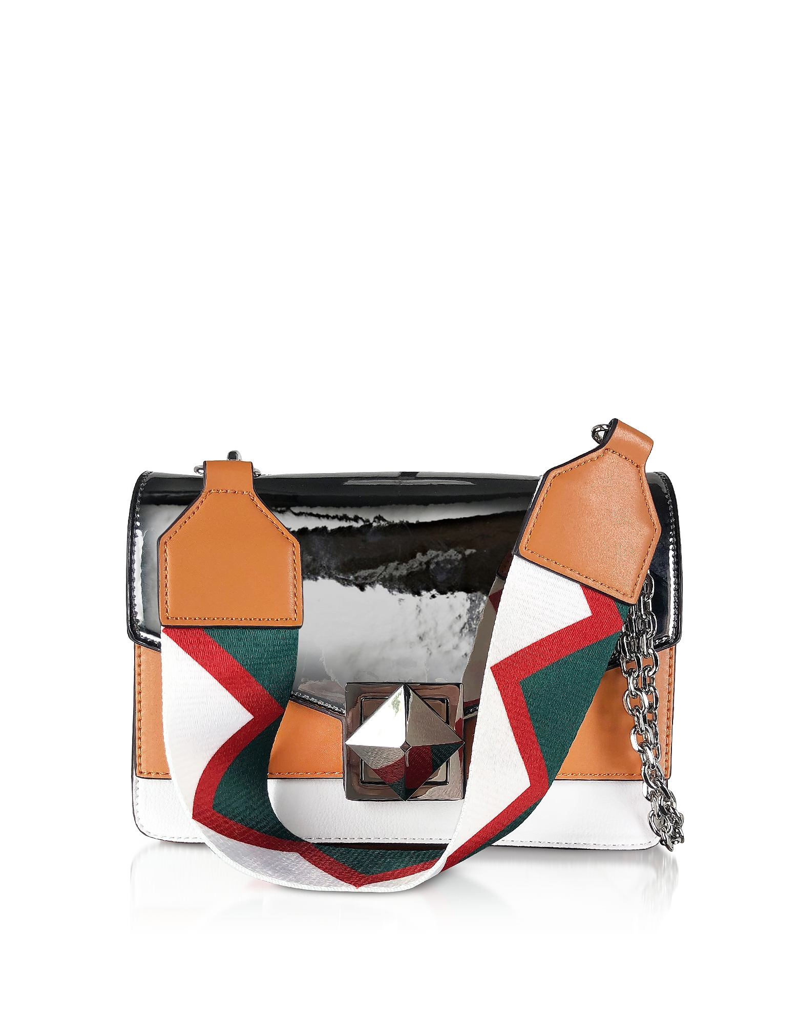 Manila Grace Designer Handbags, Color Block Laminated Shoulder Bag