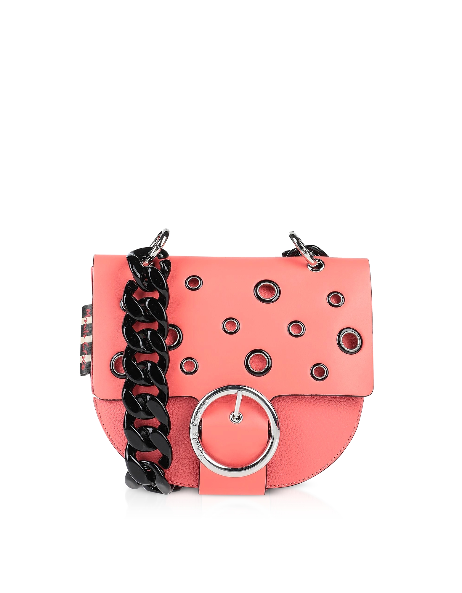 Manila Grace Designer Handbags, Pink Allover Eyelet Shoulder Bag
