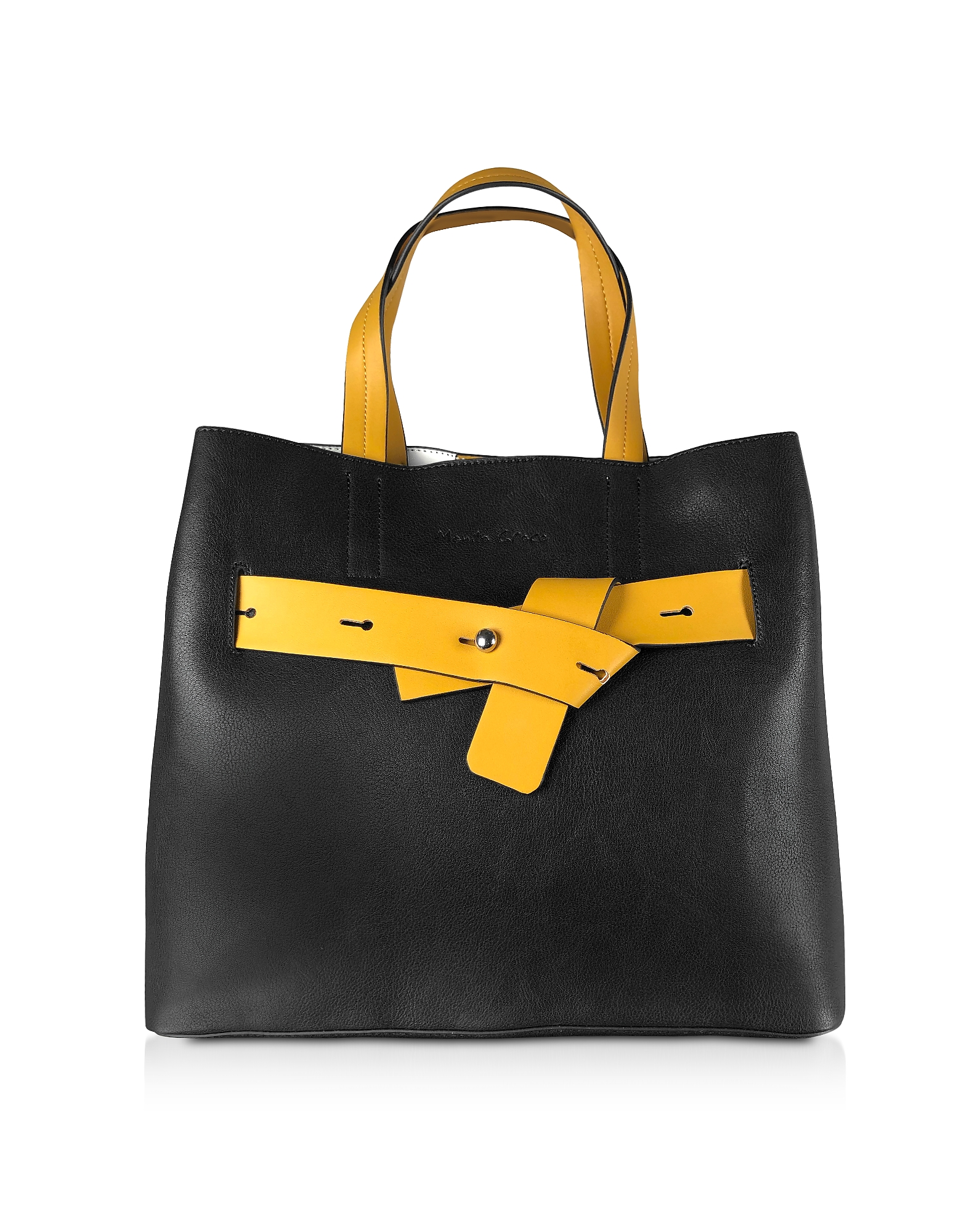 Manila Grace Designer Handbags, Black & Yellow Tote Bag