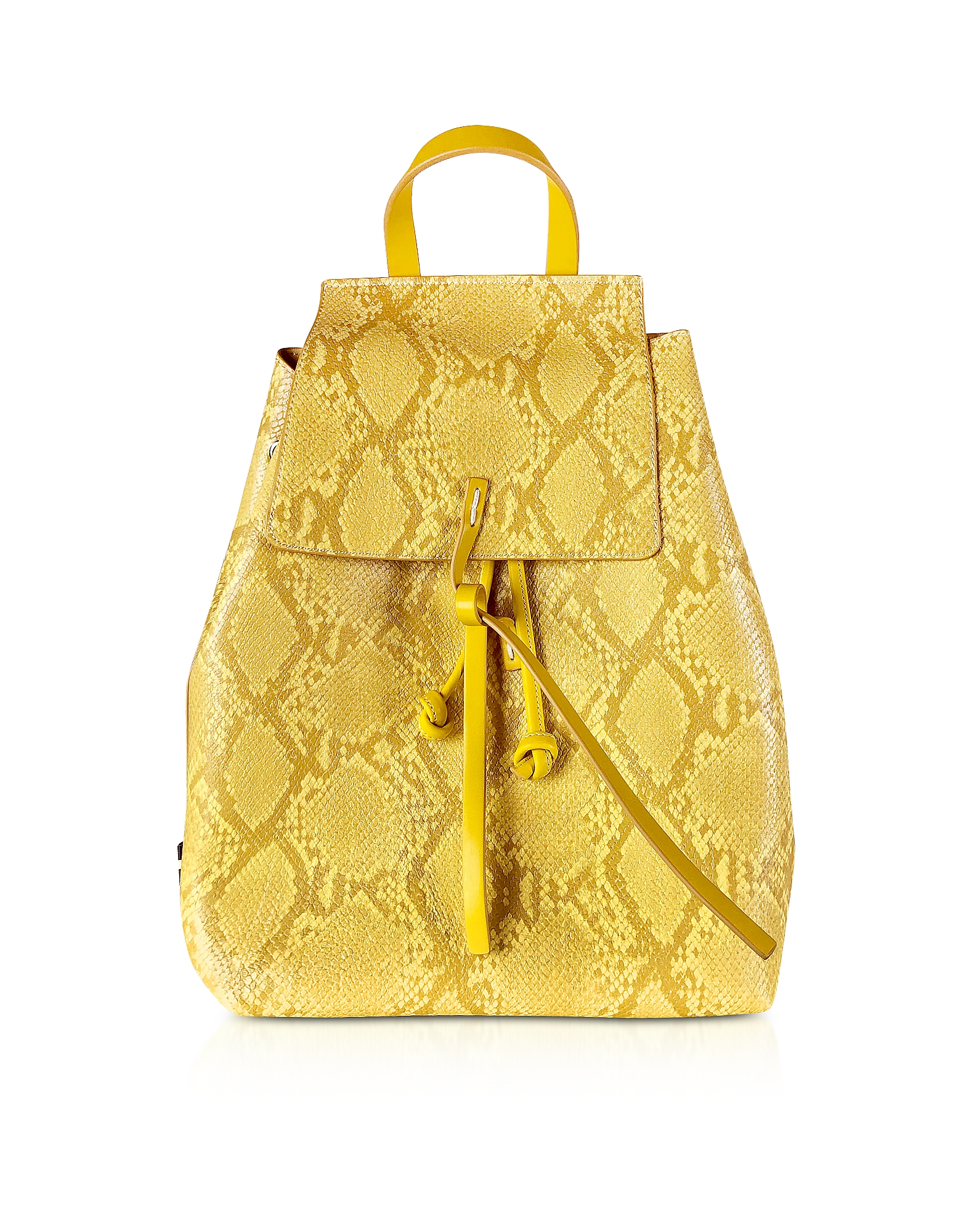 Manila Grace Designer Handbags, Sun Yellow Python Embossed Backpack