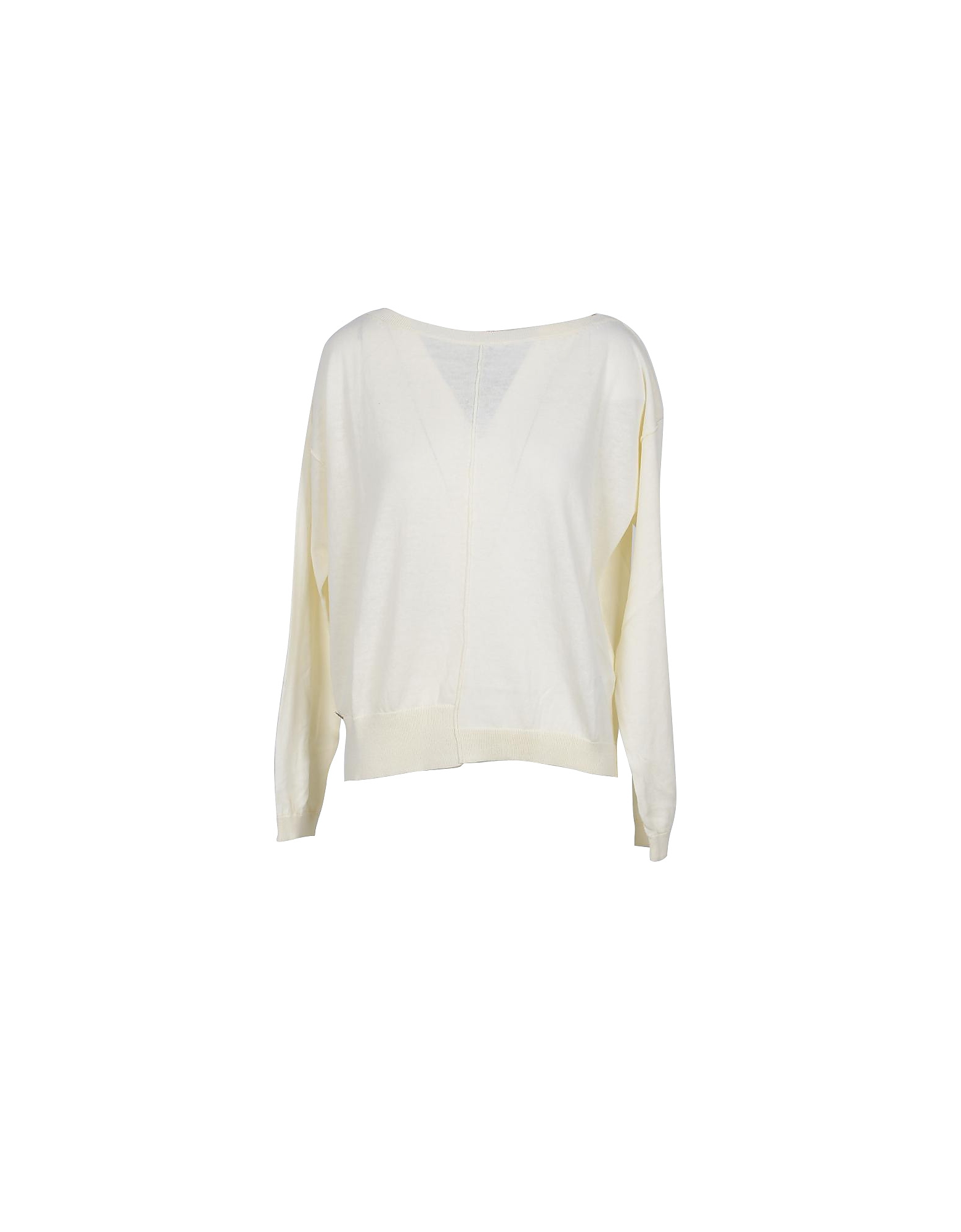 Manila Grace Designer Knitwear, White Cotton Women's Sweater