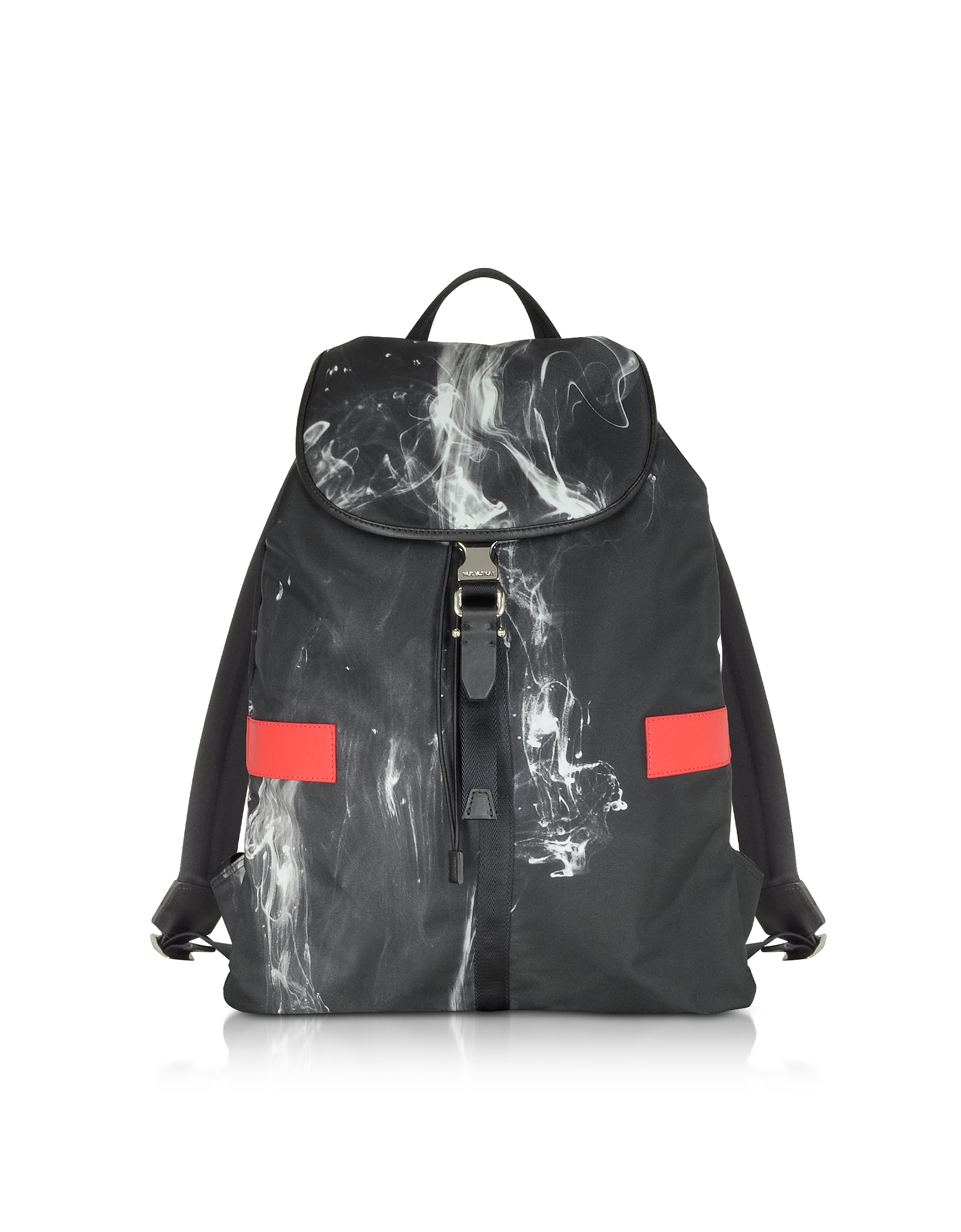 Neil Barrett Backpacks, Black/White Liquid Ink Printed Nylon Rucksack w/Red Leather Band